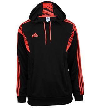 adidas Mens Speedkick Hood Black/Solar Red. #SVSports #adidas #Hoodie