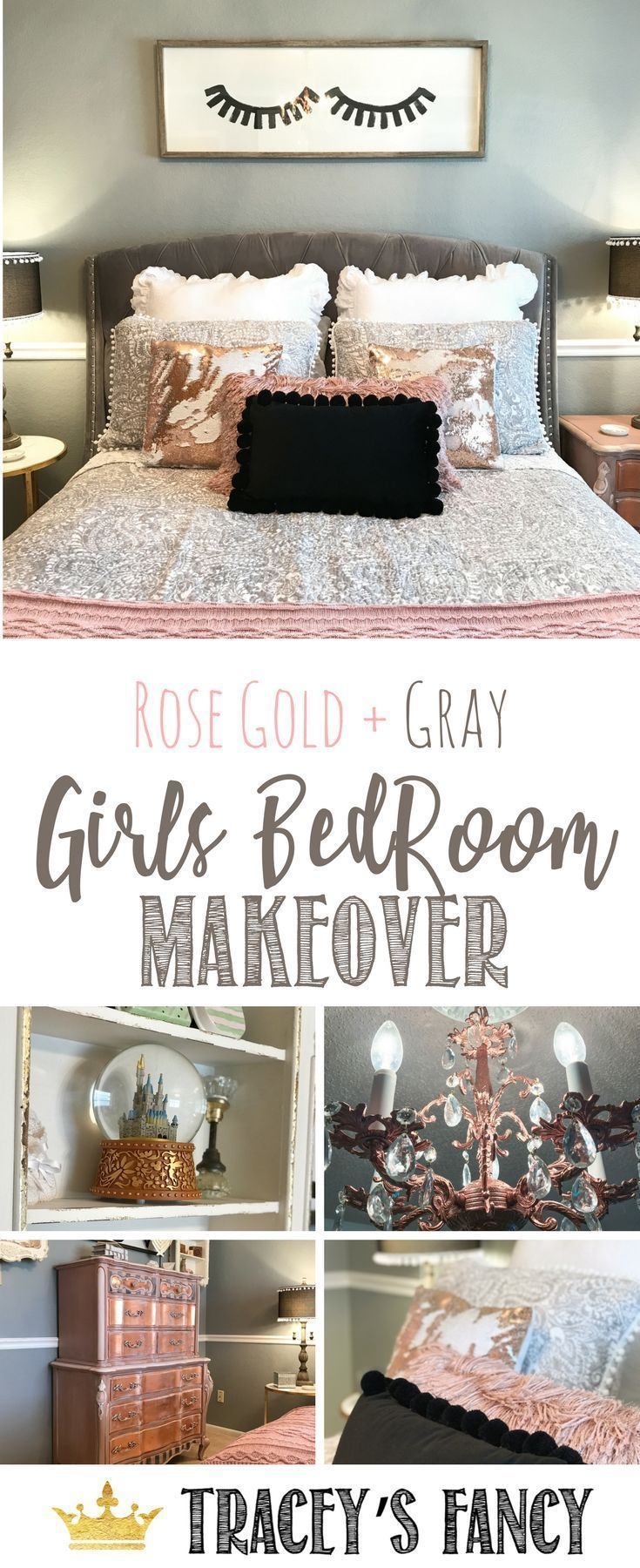 Rose gold gray girls room makeover by traceyus fancy bedroom