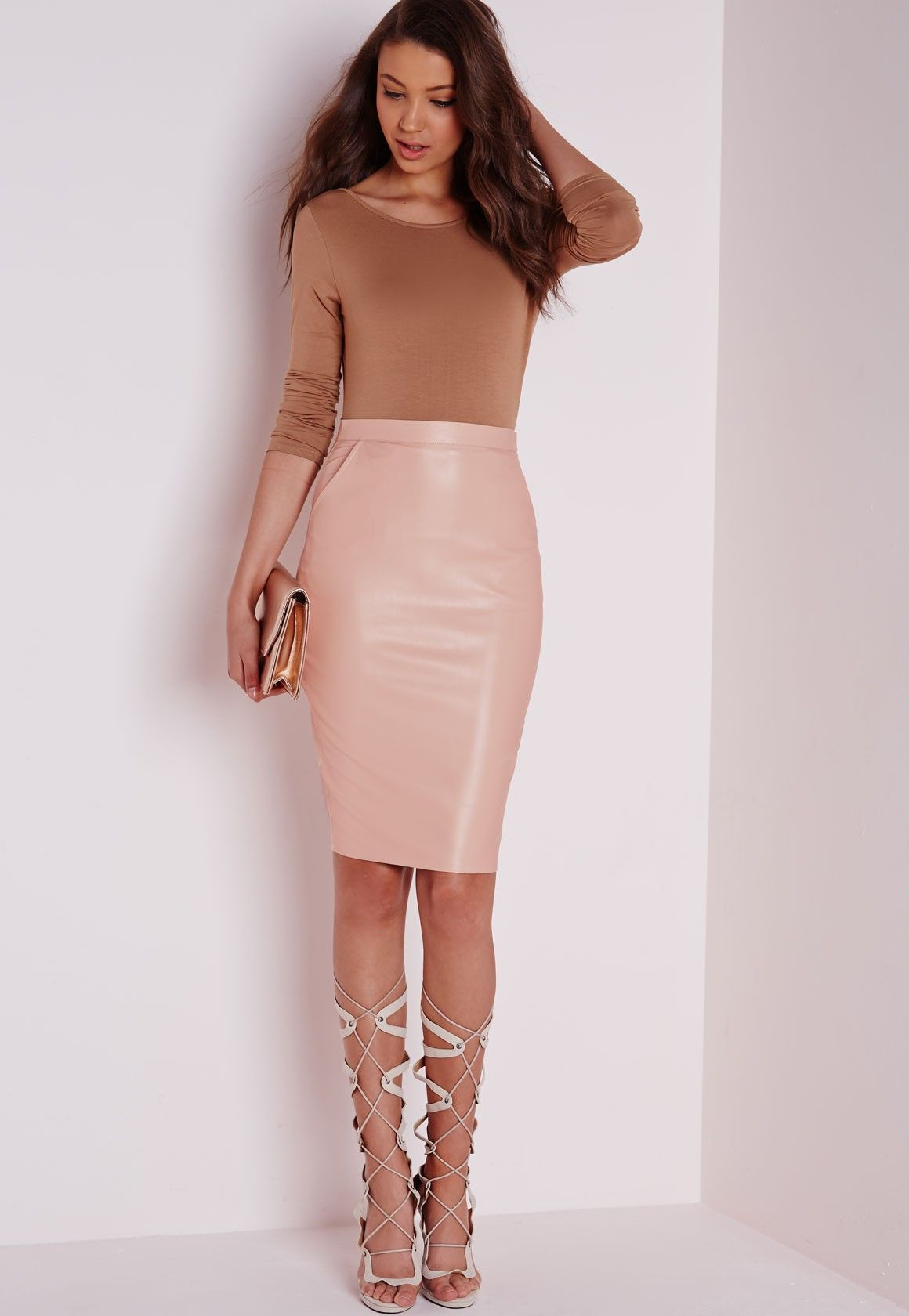 Chic 2 Piece Outfit w/ Nude Leather High Waist Pencil Skirt | Nova ...