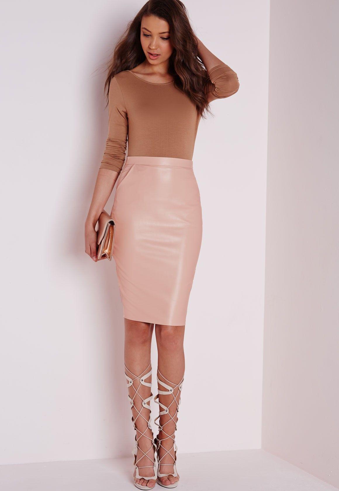 81d9e72f1e Mariota Faux Leather Midi Skirt Nude - Faux - Leather - Skirts - Missguided