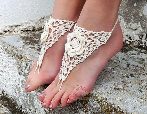 c7650ea8911fd Very cool! Beach Wedding Crochet Barefoot Sandals Cream Nude shoes ...