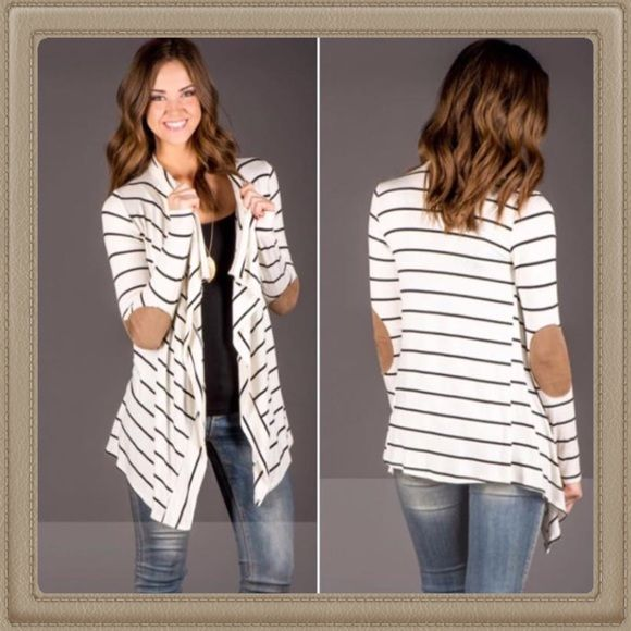 White and Black Elbow Patch Cardigan BNWT FROM MY BOUTIQUE White ...