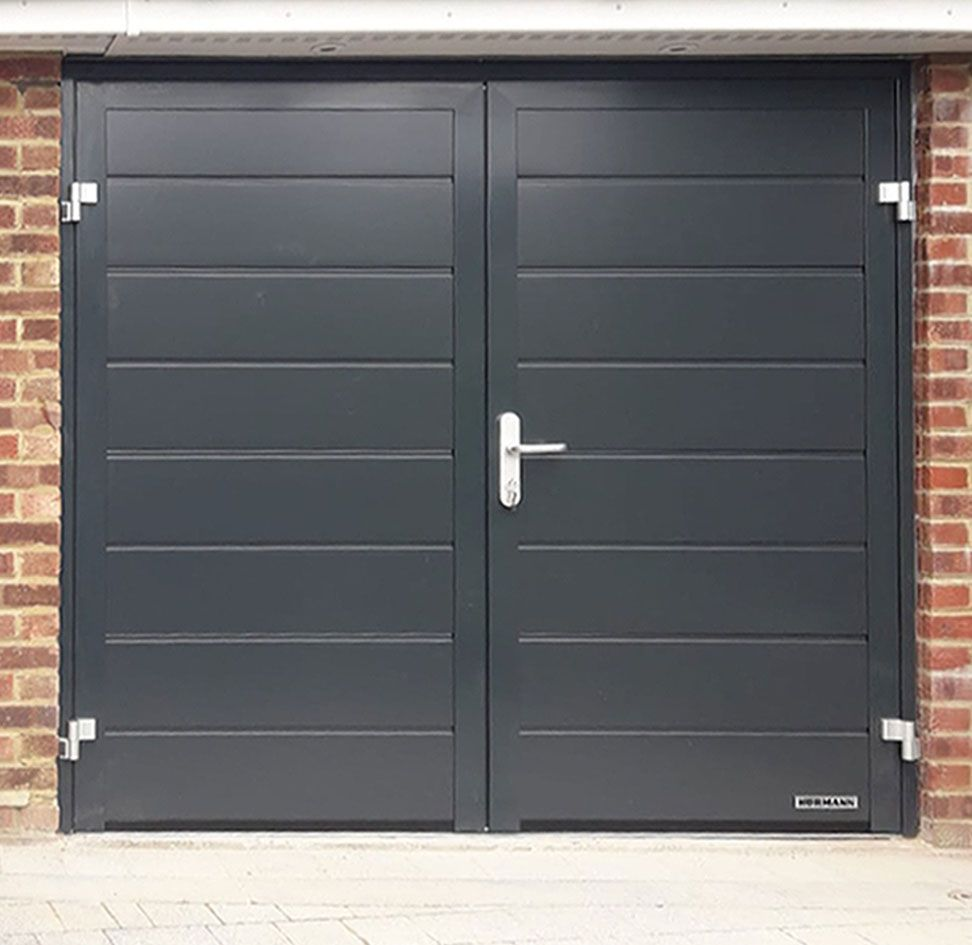 Hormann Horizontal M Ribbed Side Hinged Garage Door Finished In Anthracite Grey Side Hinged Garage Doors Garage Door Hinges Garage Doors