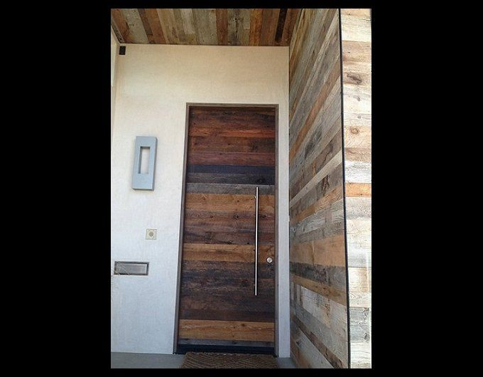 horizontal plank salvaged wood entry door with modern bar door handle +  wrapped ceiling and wall - Horizontal Plank Salvaged Wood Entry Door With Modern Bar Door