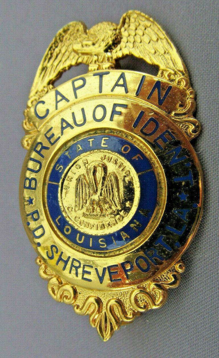 Captain Bureau Of Identification P D Shreveport Louisiana Police Badge Badge Police
