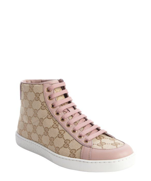 322eb3dd342 Gucci sand and pink GG printed canvas hi top sneakers