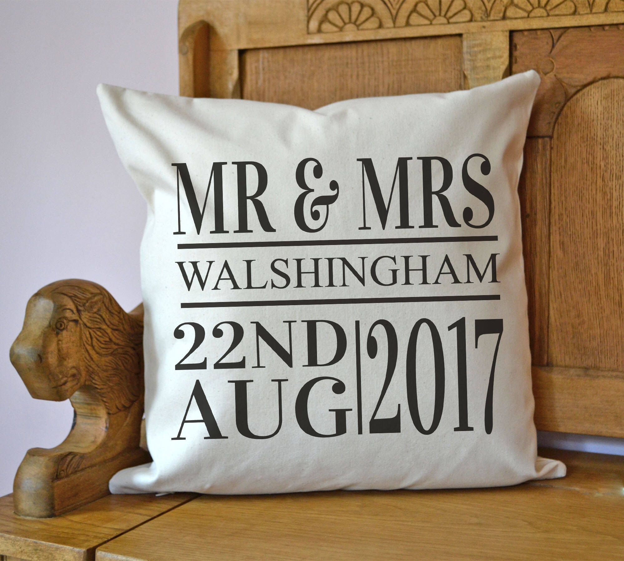 Personalised Cushion, wedding date, wedding present
