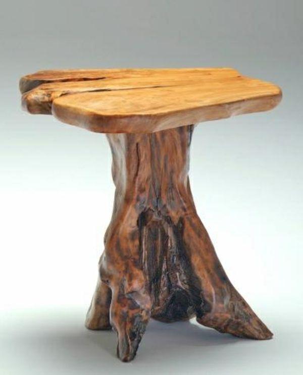 Moderner Baumstamm Tisch Grauer Hintergrund