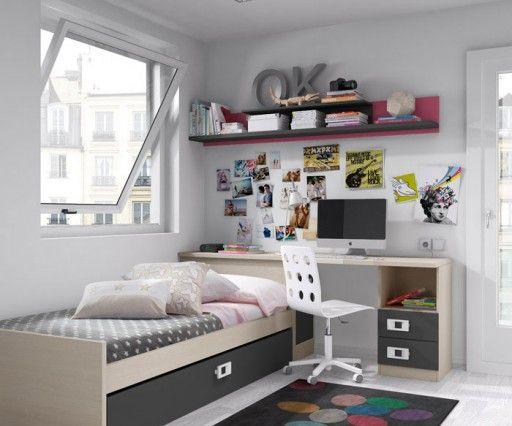 Dormitorios juveniles peque os cerca amb google mobiliari interior pinterest dormitorios - Dormitorios juveniles espacios pequenos ...