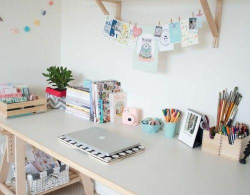 schreibtisch selber bauen diy büro holzplatten offenes wandregal - schreibtisch selber bauen ikea