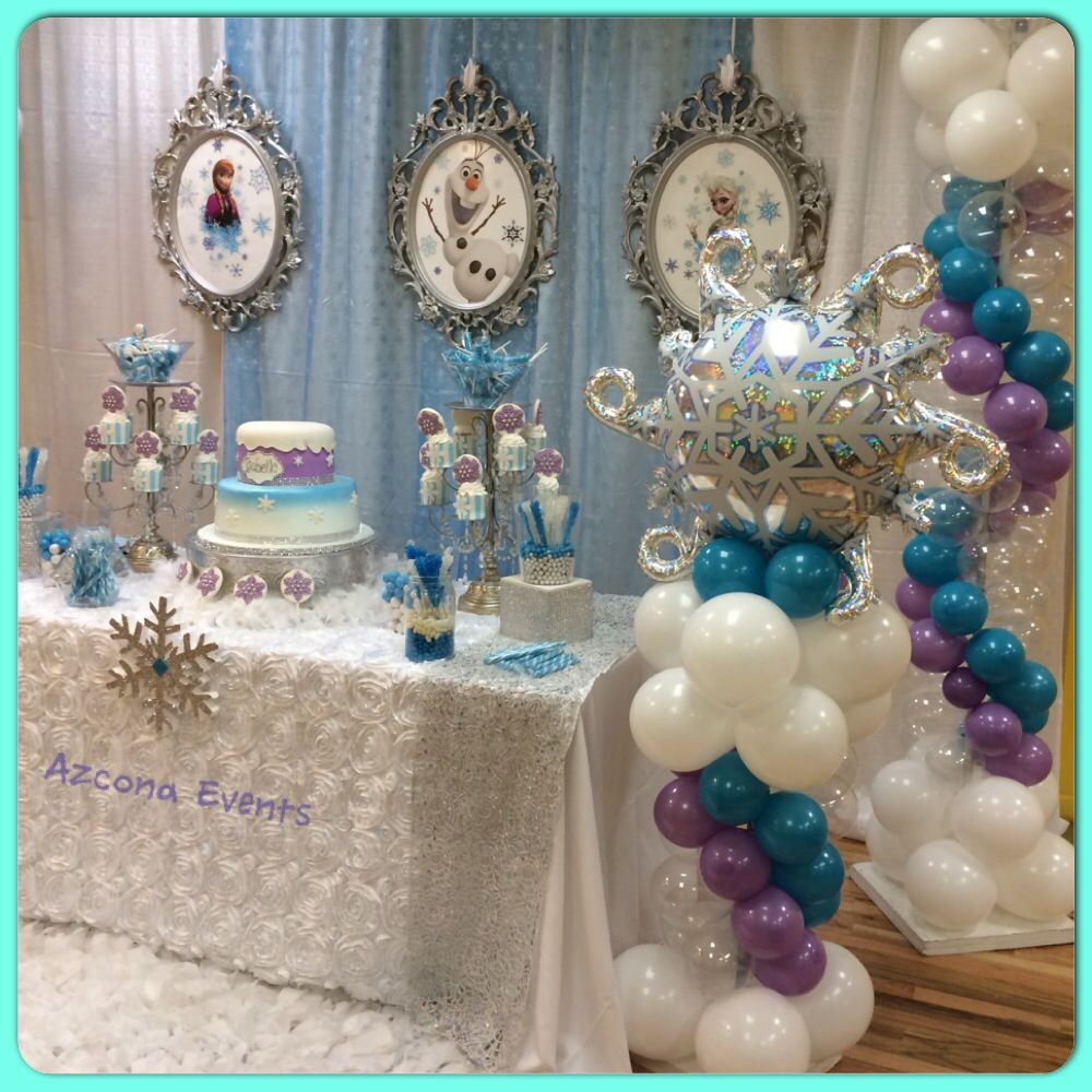 frozen themed 1st birthday balloons decor in 2019 frozen themed birthday party frozen. Black Bedroom Furniture Sets. Home Design Ideas