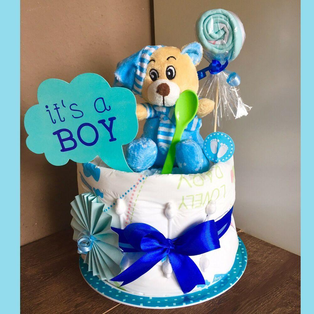 Windeltorte Junge ❤️Baby Boy❤️super Geschenk zur Geburt Babyparty Taufe o