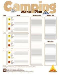 step by step camp menu planning glamping pinterest camping