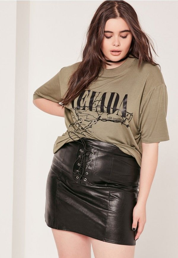 8983b8863f48 Plus Size Lace Up Faux Leather Mini Skirt Black - Missguided ...