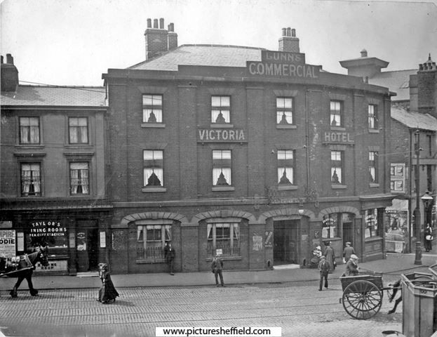 Victoria Hotel, corner of Furnival rd and Exchange lane, these properties were earmarked for demolition at the time, in 1913/1914.