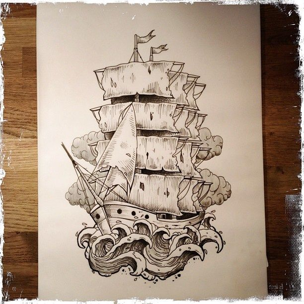 Pin By Dianna Meyer On Tattoo Ideas Ship Tattoo Sleeves Pirate Ship Tattoos Pirate Ship Tattoo Traditional