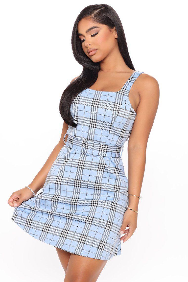 Play In Plaid Mini Dress Blue Mini dress, Fashion nova