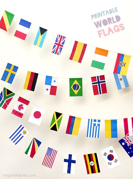 FREE printable World Flags BuntingTo make watching the Olympics