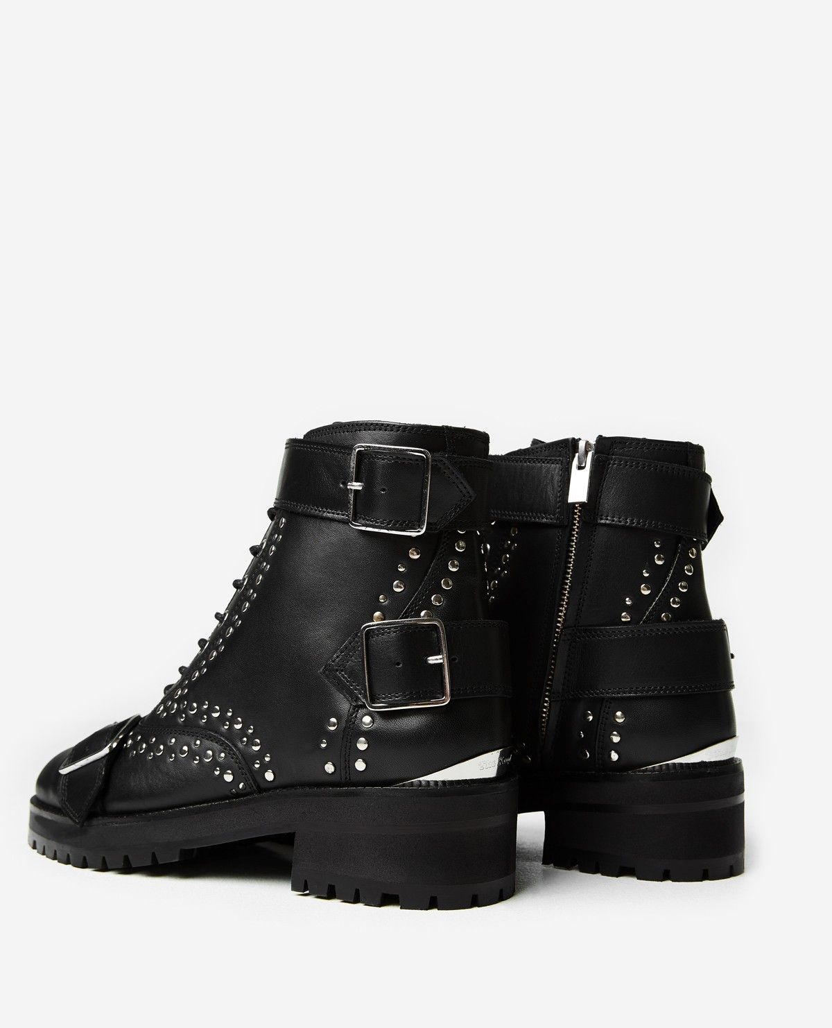 Black leather lace-up studded ankle boots - THE KOOPLES
