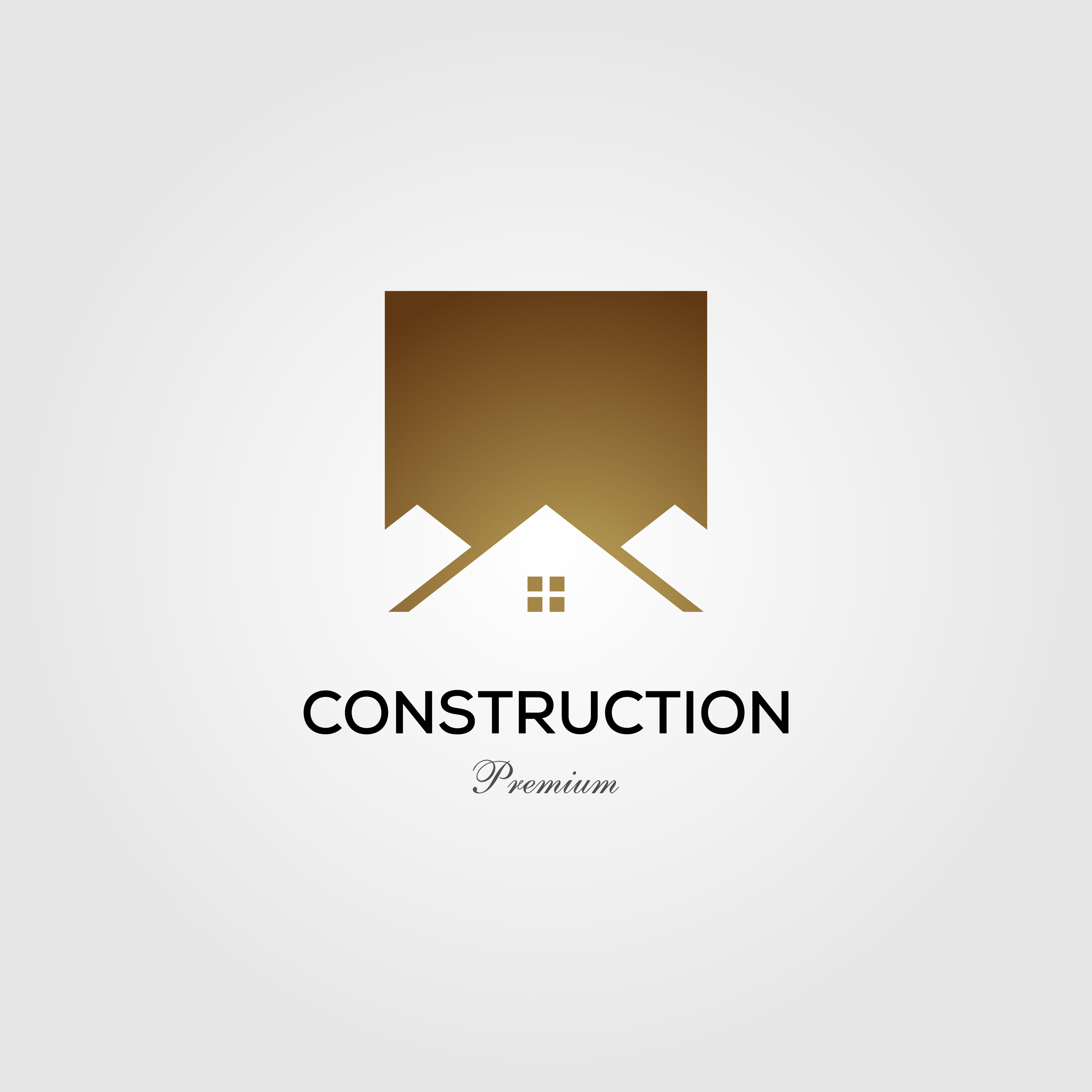 gold construction real estate house home roof logo vector