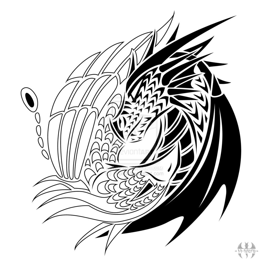 8a97220ad Tattoo design Yin Yang Dragon-Phoenix by H-brid.deviantart.com on @ DeviantArt