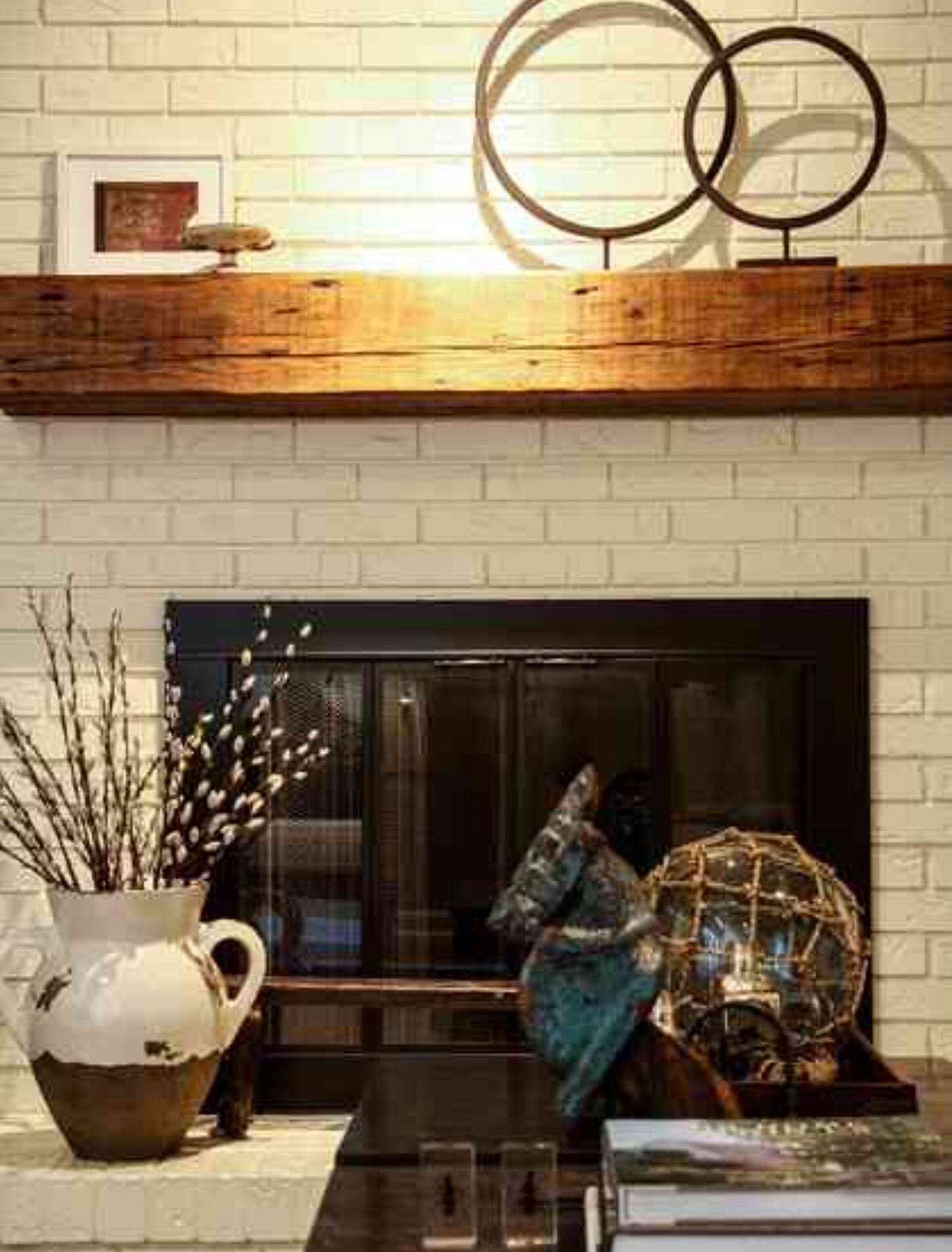 White brick fireplace with wooden mantle home details pinterest