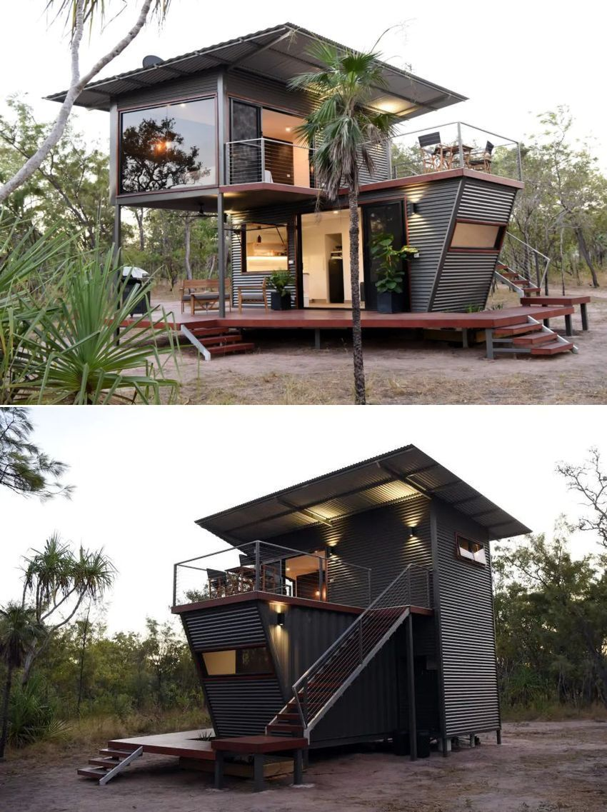 Two Story Rental Cabin In Australia Made From Shipping Containers In 2020 Container House Design Container House Plans Container House
