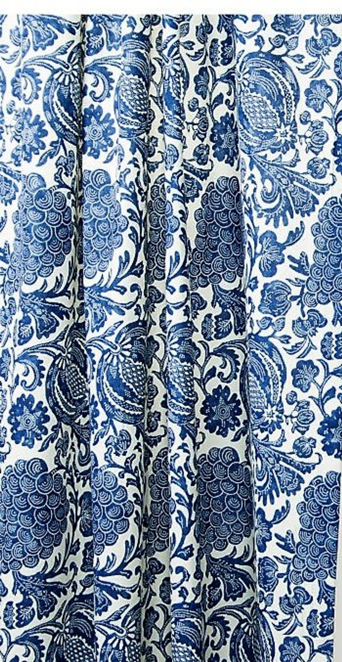 Indigo Blue And Off White Lined Curtains Cobalt Blue Lined Etsy