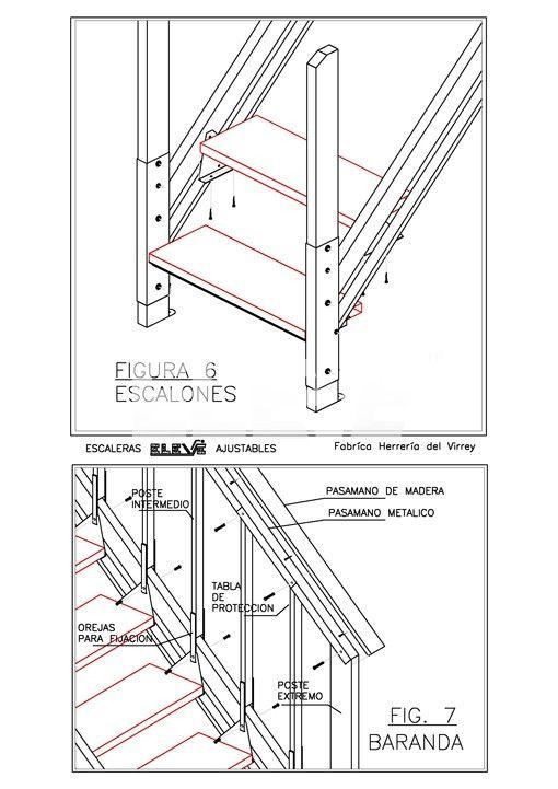 Detalle de armado de escalera ajustable baranda y for Trazar una escalera