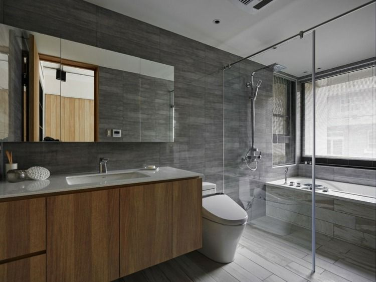 idée de déco de salle de bain grise avec des meubles en bois ...