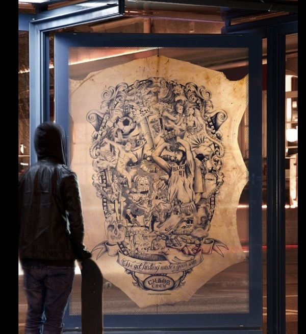 Munich based tattoo artists Chaos Crew create a poster depicting a retrospective of 2011 by tattooing on calf skin