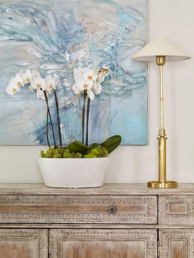 Vignette Abtract Art Orchid Moss Arrangement Buffet Lamp