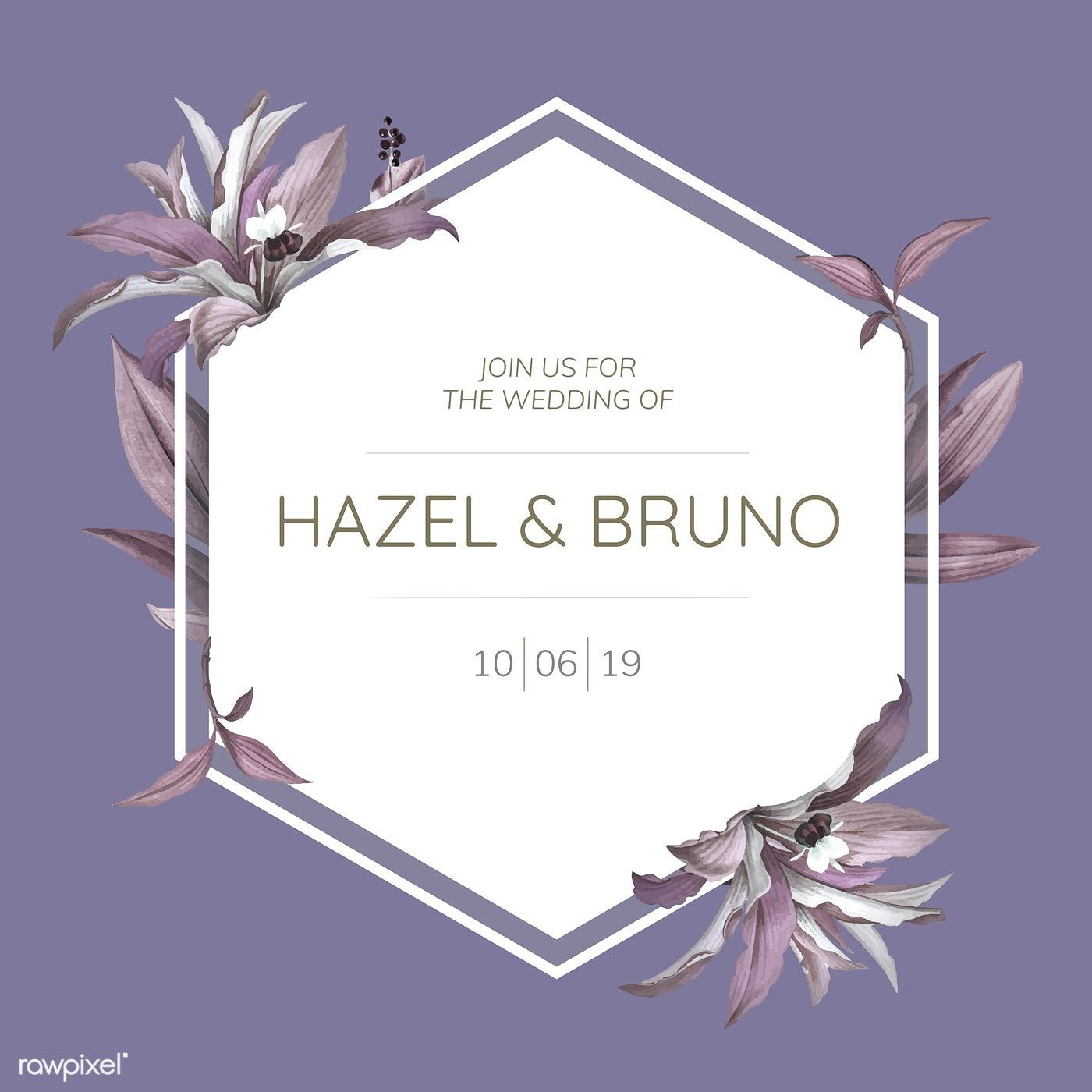 Download Premium Vector Of Wedding Frame With Purple Leaves Design