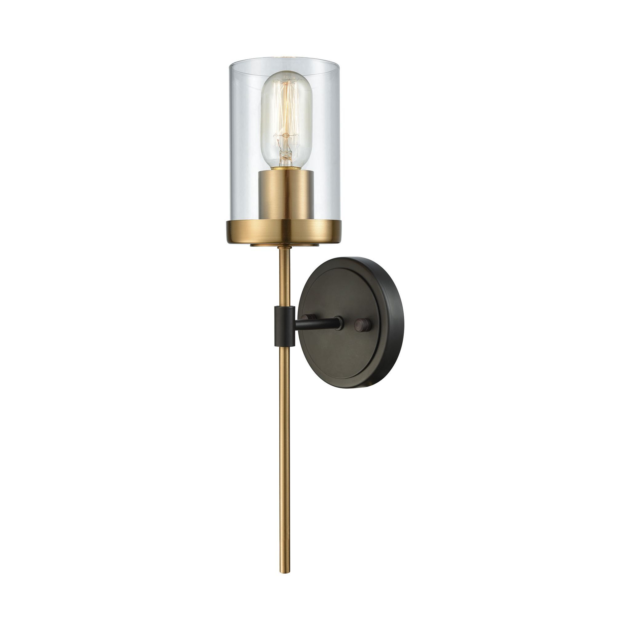 North haven satin brass and oil rubbed bronze wall sconce by elk