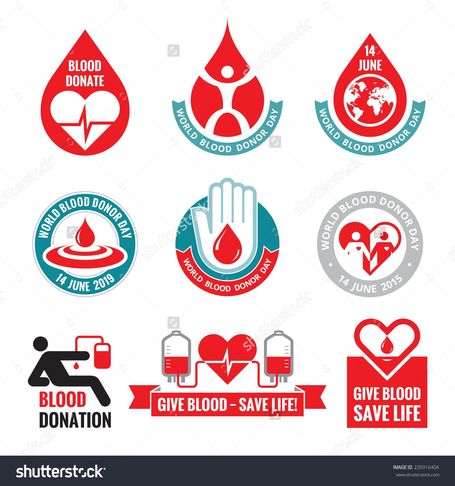 Poster design on blood donation - Picture Or Photo Of Blood Donation Vector Logo Badges Collection World Blood Donor Day 14 June Heart And Blood Drop Illustration