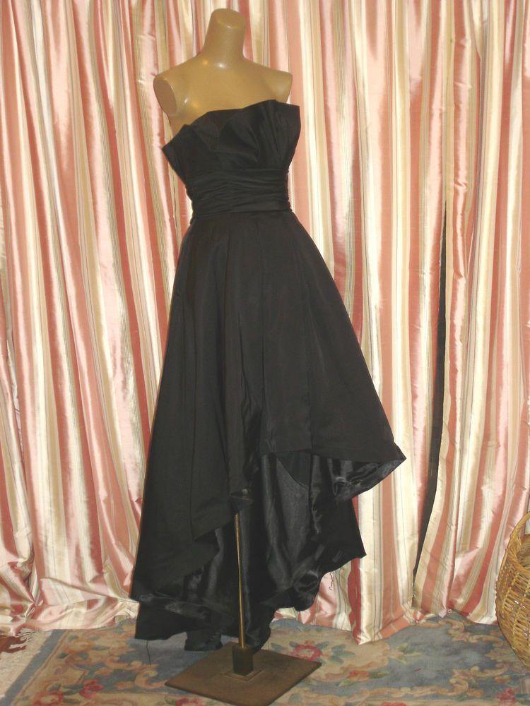 WHITE HOUSE BLACK MARKET Strapless Satin Black Gown SZ S | I\'d Wear ...