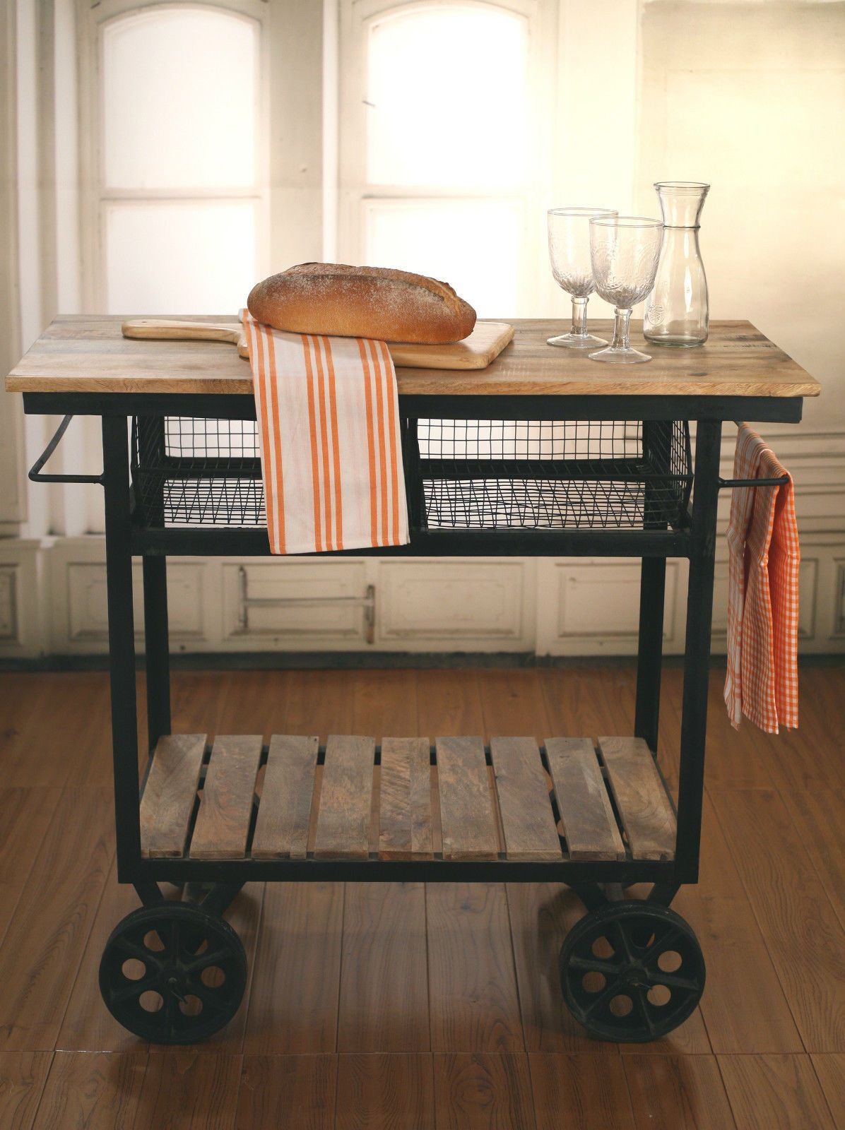 Industrial Style Kitchen Trolley Kitchen Island ON Metal Wheels ...