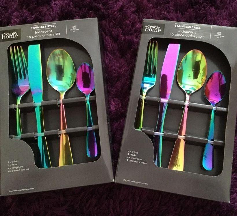 Rainbow Kitchen Decor: Iridescent Stainless Steel Cutlery Set