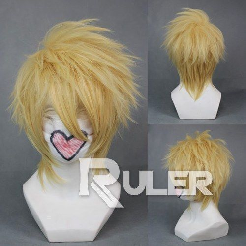 Japan Anime Amnesia Toma Short Light Golden Anime Cosplay Wig+Wig Cap