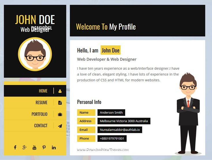 Yellow Vcard Template  Template Creative Portfolio And Graphics