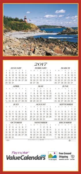 "2017 Scenic Lighthouse Calendar | 7-3/4"" x 16-1/2""; 7-3/4"" x 5-1/2"" (Z-Folded) Z-Fold Card | Tri-Fold Greeting Card Calendars, scenic calendars, greeting cards, business gifts, promotional calendars, foldable calendars, lighthouse beach calendar, lighthouse greeting card calendars, valuecalendars.com"