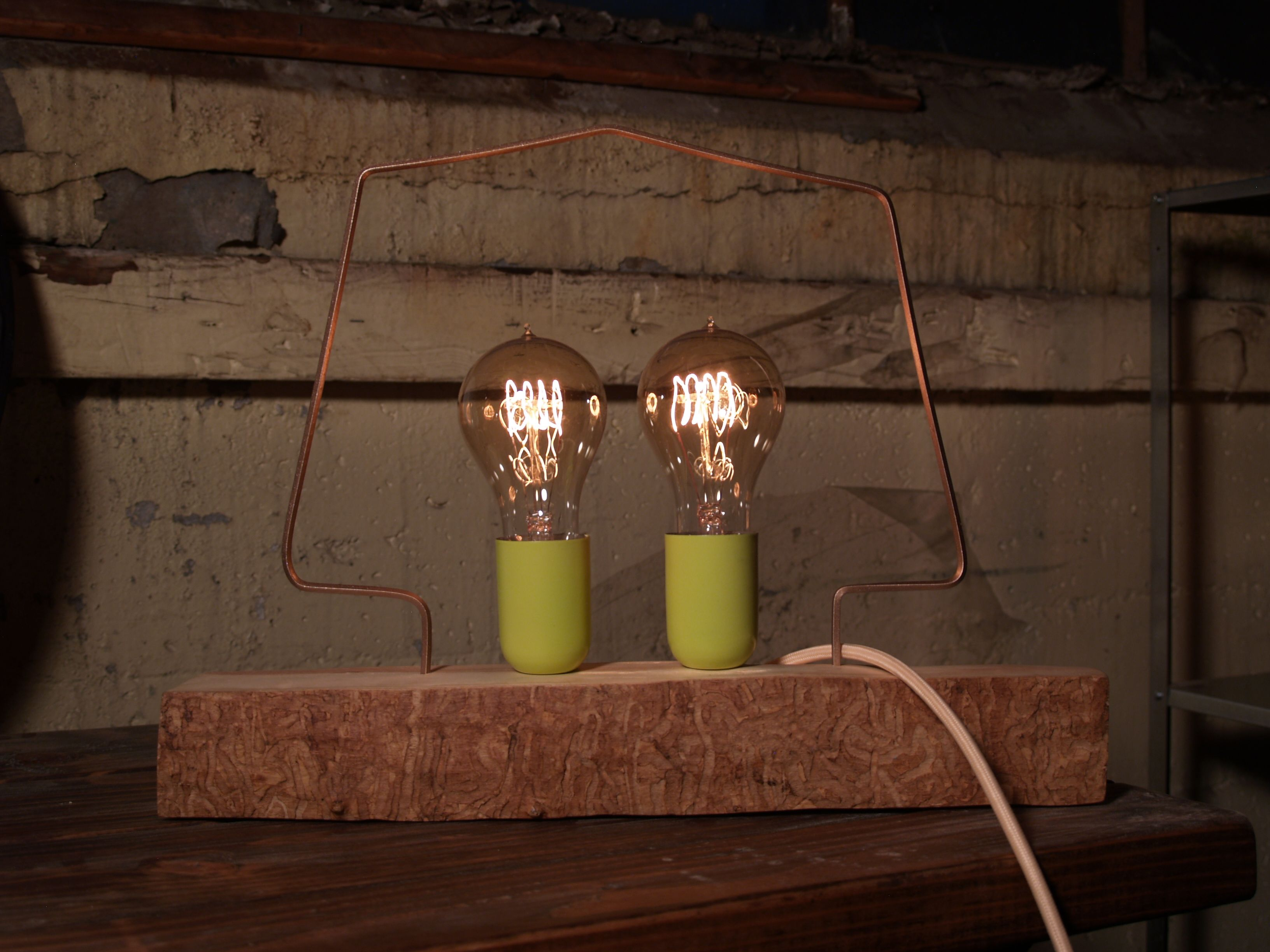 Shadeless Lamp With Twin Vintage Bulbs. Love The Green!