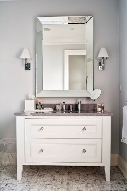 Bathrooms Silver Gray Walls Beveled Mirror White Bathroom Vanity Marble Top Mosaic S Tone Floor
