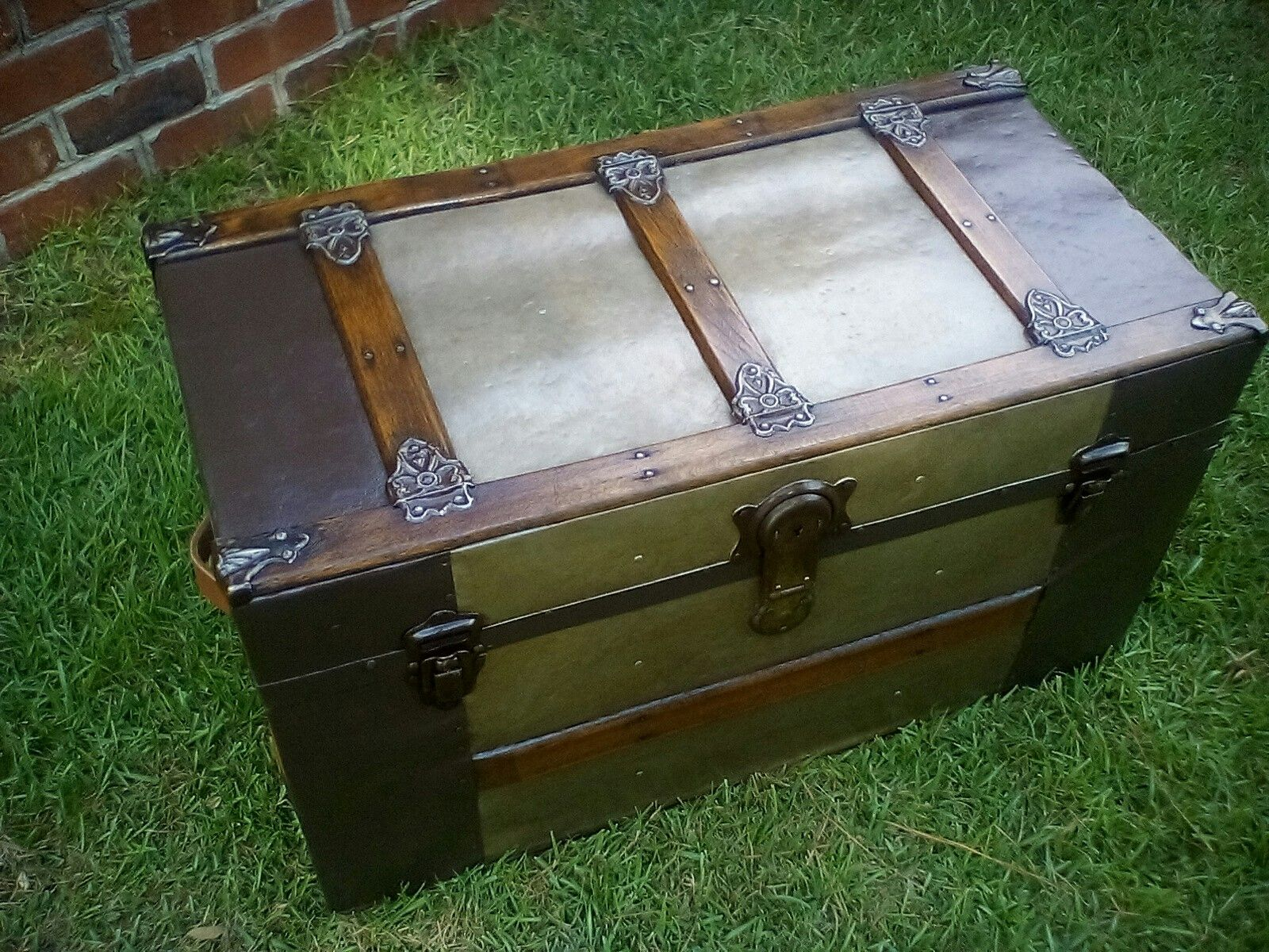 Refinished Small Antique Trunk Coffee Table Ca 1900