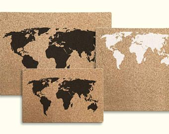 Natural cork board world map without frame map travels cork board world map black gumiabroncs Gallery