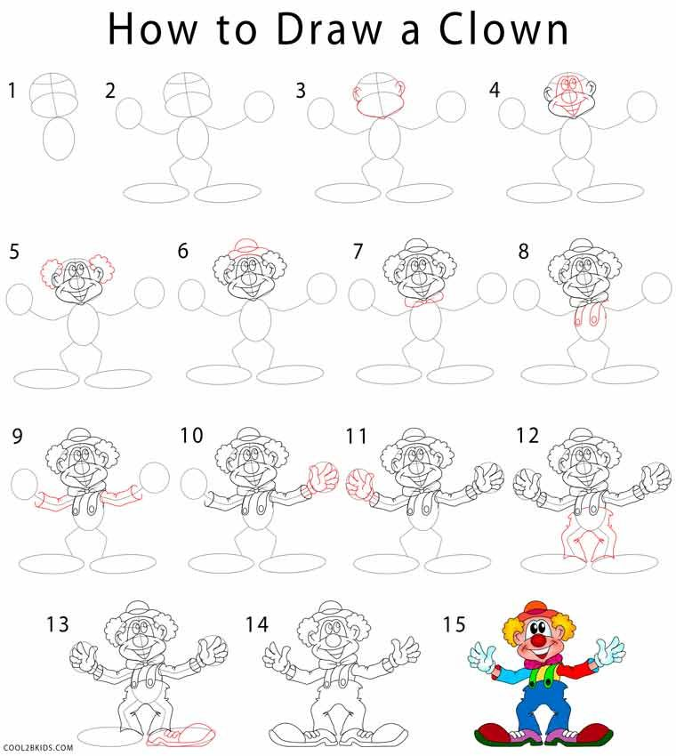 how to draw a clown step by step drawing tutorials with pictures