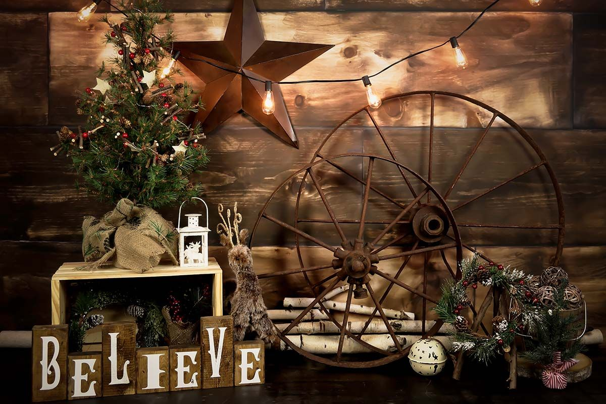 Rustic Believe Christmas Backdrop Christmas Background Photography Photo Backdrop Christmas Christmas Photo Booth