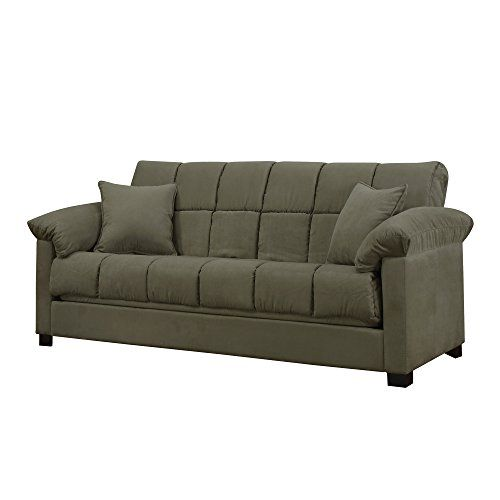 Amazon.com: Full Sleeper Sofa   Convertible Microfiber Tufted Couch   Full  Size Guest Bed   Comfortable Foam Filling   Living Room Furniture   600  Pounds ...