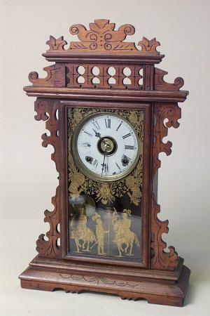 E N Welch Antique Mantel Clock In Walnut 6509825160 Antique