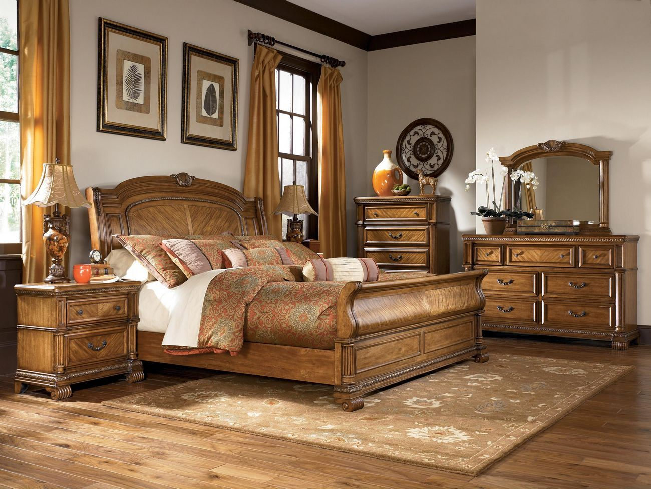 Ashley millennium clearwater b680 king sleigh bedroom for Bedroom furniture warehouse
